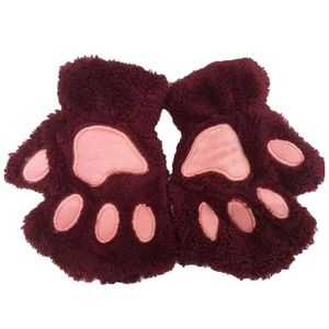 Burgundy furry fingerless hand warmers